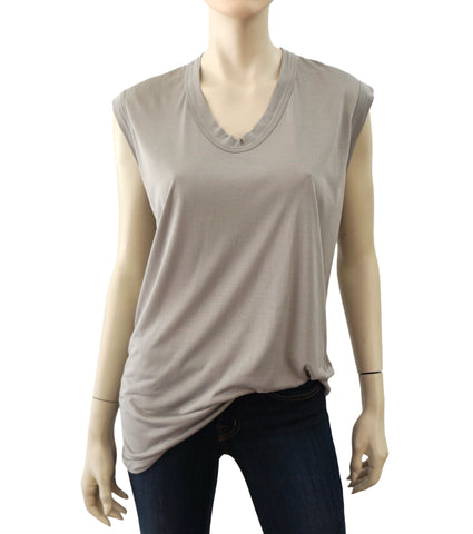 RICK OWENS Women's Dust Gray Stretch Jersey Oversize T-Shirt Tunic Top S NEW