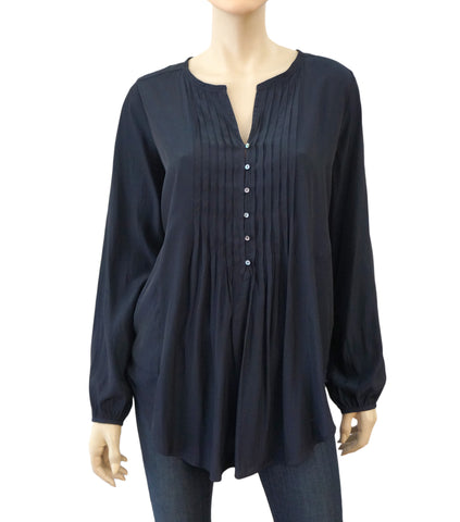 CALYPSO ST. BARTH Navy Blue Silk Pleated Long Sleeve Blouse Top S