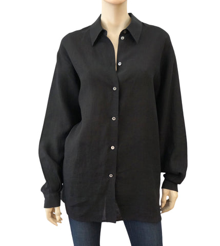 MICHAEL KORS COLLECTION Oversize Black Linen Button Down Blouse Shirt 12 NEW