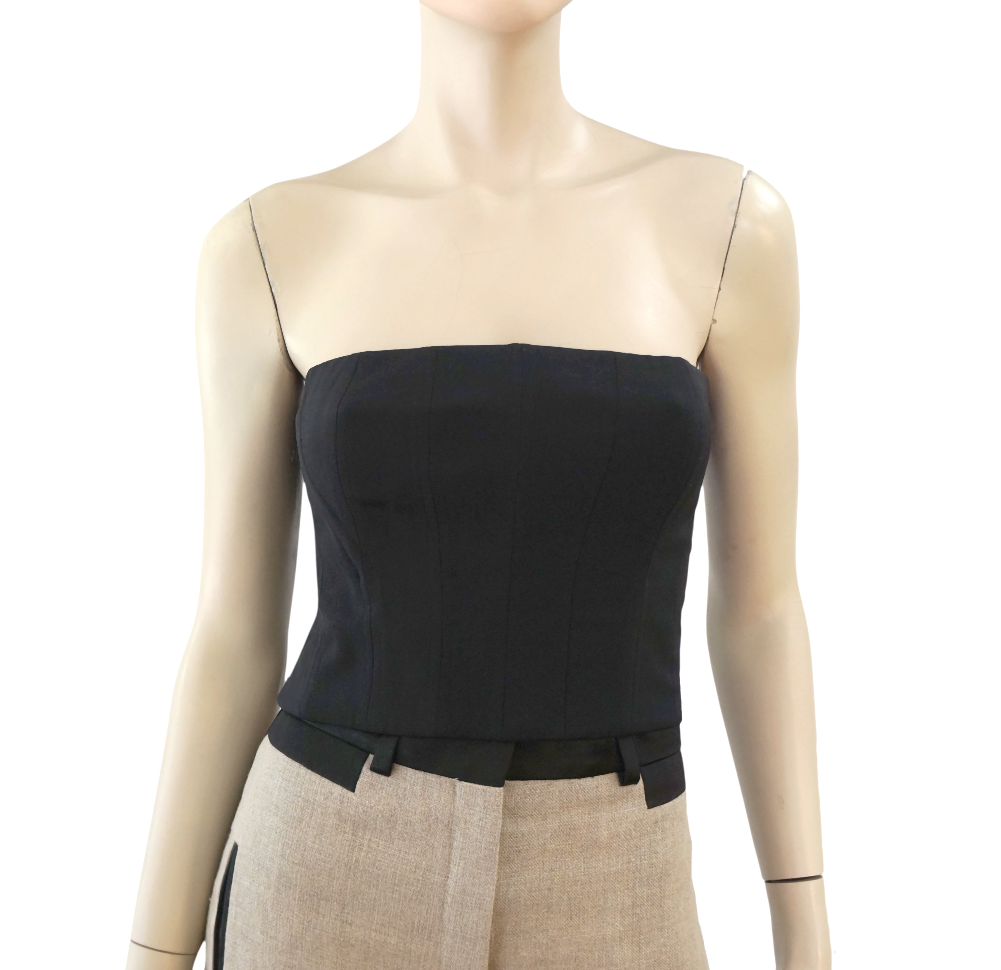 0bb3ea7c25be97 THE ROW Top 4 Women s Bustier Black Silk Cropped Campbell NEW ...