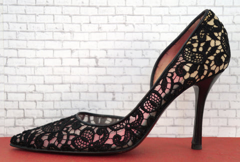 CELINE 36 Pumps Black Guipure Lace Stacked  Heels 6