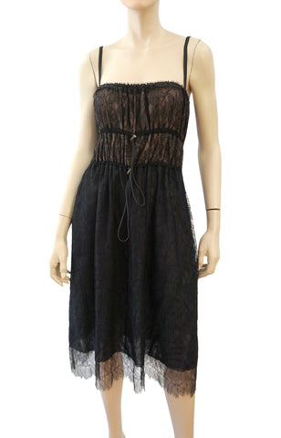 LANVIN Black Lace Overlay Toggle Trim Cocktail Dress 40 US 8 NEW