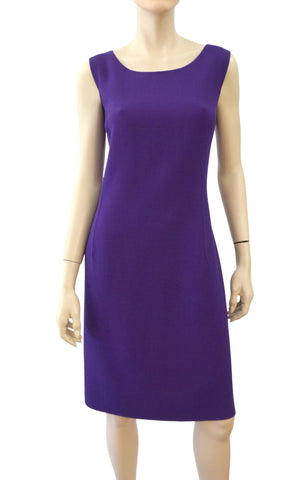 OSCAR DE LA RENTA Sleeeveless Violet Wool Crepe Sheath Dress 12 NEW