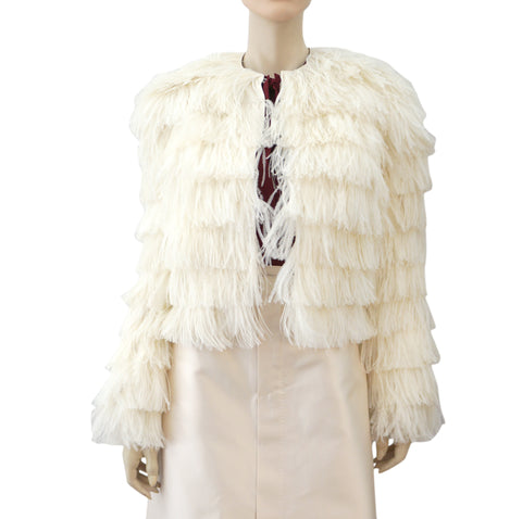 RALPH LAUREN BLACK LABEL Milk White Ostrich Feather Cropped Jacket 8 NEW