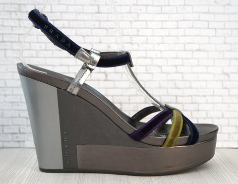 PRADA SPORT 36.5 Multi-color Velvet Silver T-Strap Wedges Sandals Heels 6.5