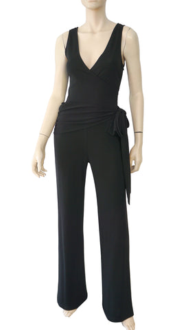 Sleeveless Black Jersey Surplice Neck Belted Jumpsuit S