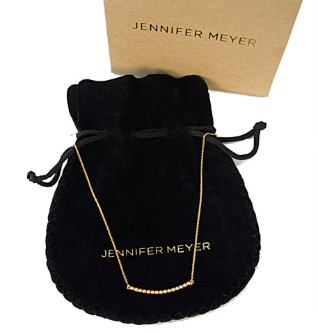 JENNIFER MEYER 14K Yellow Gold Curved Ball Bar Necklace NEW