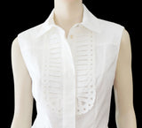 ANDREW GN Cotton Eyelet 'Bib' Blouse, FR 40 / US 8