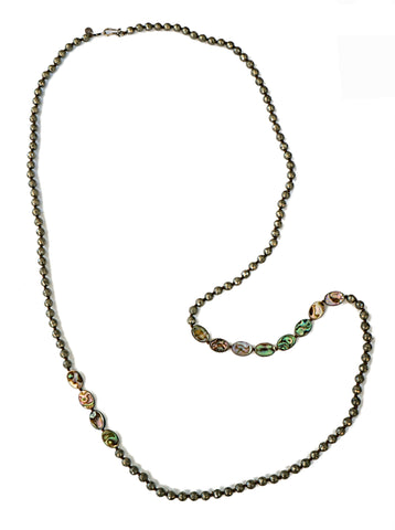 LOVE HEALS Pyrite and Abalone Bead Sterling 925 Necklace 45 inches