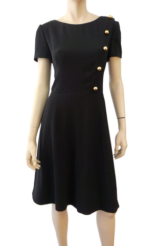 PRADA Black Crepe Button Embellished Fit Flare Work Dress 46 US 10 NEW