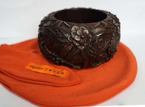 Vintage STEPHEN DWECK Massive Floral Carved Wood Bangle