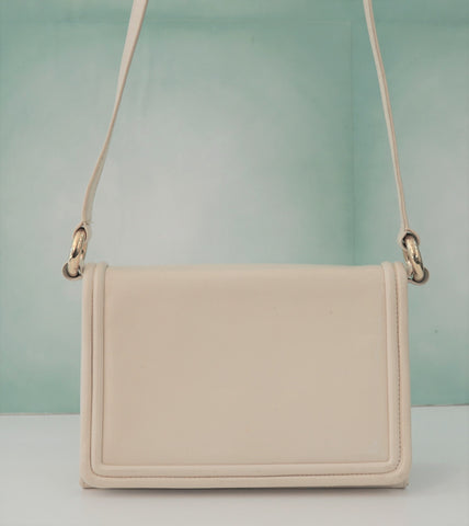 MARK CROSS Vintage Off White Bone Leather Crossbody Shoulder Convertible Clutch