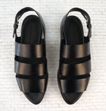 ALEXANDER WANG 38 Alisha Black Leather Platform Sandals 7.5
