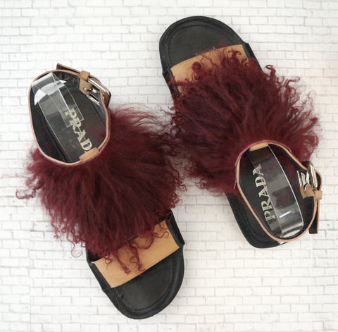 PRADA Open-Toe Fur Sandals, 39/9