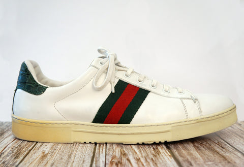 GUCCI 10 Mens Vintage Ace Alligator and Canvas Striped White Leather Sneakers