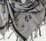 LEIGH & LUCA Navy Bird Toile Fringed Scarf Sarong Shawl Wrap NEW WITH TAGS