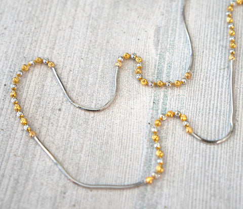 22K INDIAN 2 Tone Yellow White Gold Bead Necklace 6 gr