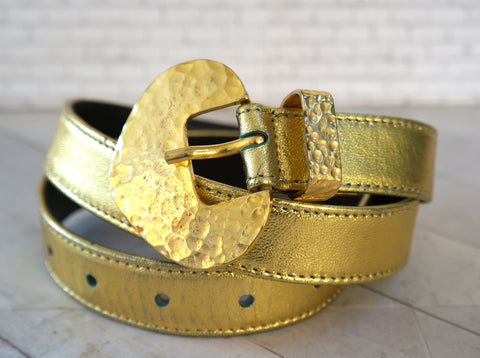 YVES SAINT LAURENT Gold Leather Buckle Wide Waist Belt M