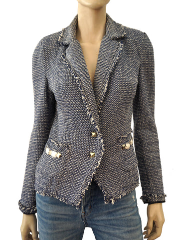 RINASCIMENTO Embellished Frayed Blue Boucle Tweed Blazer Jacket S