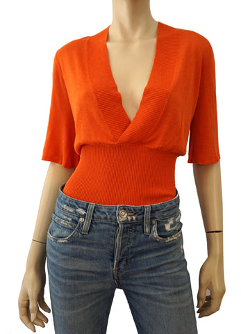 JEAN PAUL GAULTIER JEANS Orange Ribbed Linen Knit Plunging Surplice Top S