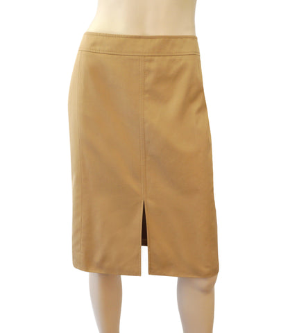 VALENTINO Cotton Poplin Khaki Beige Slit Front Pencil Skirt 10 NEW