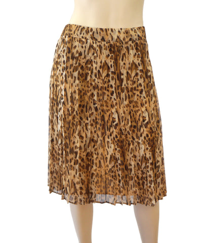 MAX MARA Animal Print Silk Chiffon Pleated Skirt 44 US 8 NEW