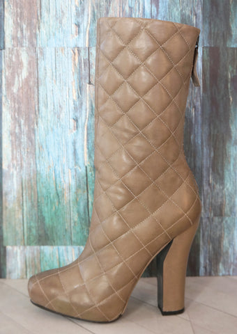 NINA RICCI 39 Gray Quilted Leather Mid Calf Boots 8.5 NEW