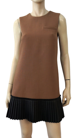 VERA WANG  Sleeveless Brown Wool Shift Pleated Black Leather Hem Dress 4