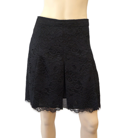 TORY BURCH Black Lace Godot Pleat Mini Skirt 4