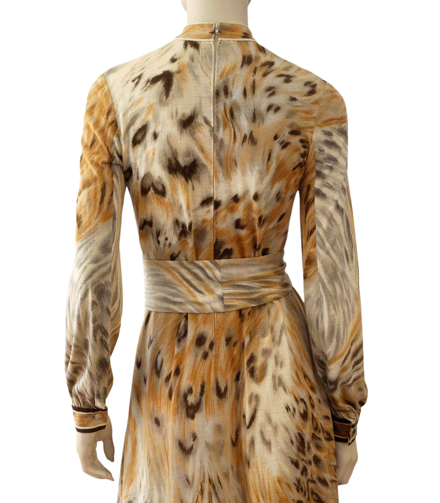 ... LEONARD Paris Vintage 70s Animal Print Wool Jersey Shirt Dress M ... 7bedcc27b