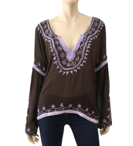 DONALE ST. BARTH Embroidered Peasant Top, S