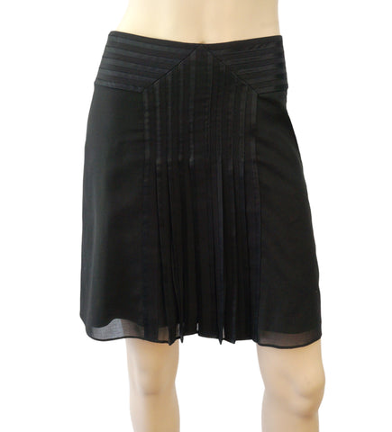 ELIE TAHARI Black Cotton Pleated Front Mini Skirt 4