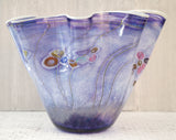 PAUL ALLEN COUNTS Monumental Indigo Blue Ocean Floor Vase Signed Art Glass