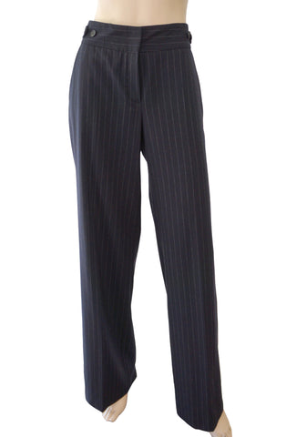 RENE LEZARD Navy Pinstriped Stretch-Wool Dress Pants Exaggerated Wide Leg 12