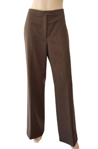CAROLINA HERRERA Brown Wool Flat Front Dress Pants 12
