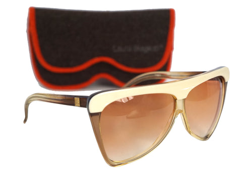 LAURA BIAGIOTTI Vintage T-311 OXSOL Ivory and Brown Sunglasses with Case