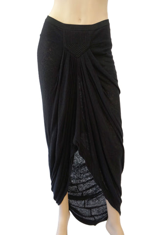 RICK OWENS LILIES Black Jersey Asymmetric High Low Skirt 40 US 4