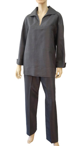 VALENTINO MISS V Charcoal Gray Silk 2-Piece Tunic Pants Outfit Set 8 10