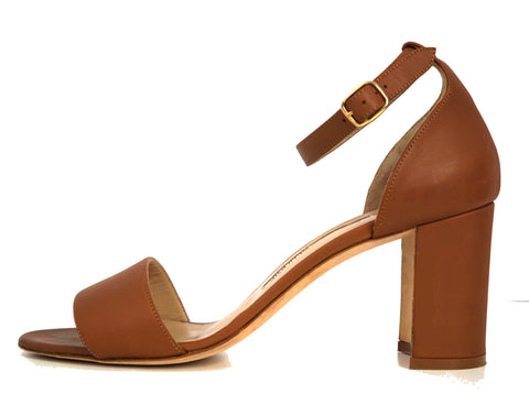 MANOLO BLAHNIK 38 Lauratomod Camel Leather Ankle Strap Heels Sandals 7.5