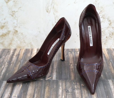 MANOLO BLAHNIK Patent Leather Pumps, 37/6.5
