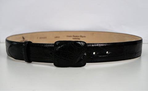 DE VECCHI by Hamilton Hodge Large Black Alligator Leather Belt BRAND NEW