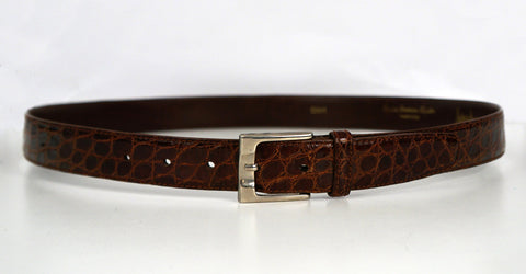 NEIMAN MARCUS 38 Men's Brown American Alligator Leather Belt