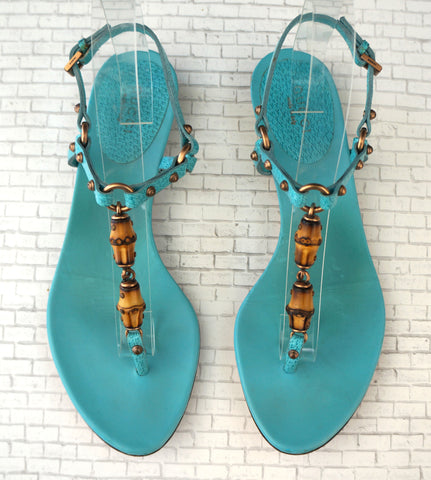GUCCI 6 Turquoise Blue Leather Bamboo Thong Sandals Flats