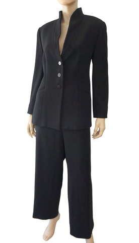 GIORGIO ARMANI BLACK LABEL Black Wool Pants Suit 50 US 14