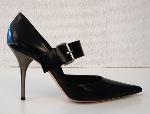 MICHAEL KORS COLLECTION 9 Black Leather Point Toe Stiletto Pumps Heels
