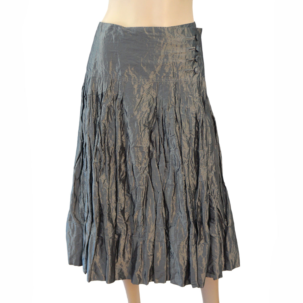 PAUW AMSTERDAM Pleated Silk Wrap Skirt, Sz 1 / Medium