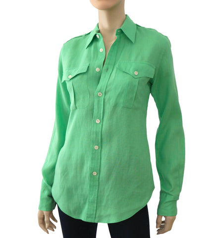 RALPH LAUREN BLUE LABEL Lime Green Linen Button Down Military Shirt Top 6
