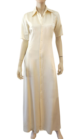 RALPH LAUREN Purple Label Ivory Stretch Silk Button Down Maxi Dress 6