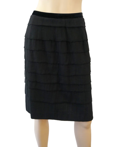 LANVIN Velvet Trimmed Black Silk Wool Tiered Pencil Skirt FR42 US 10