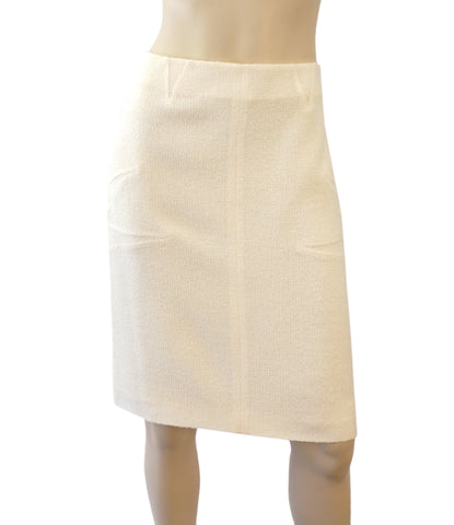 CHRISTIAN DIOR Ivory Winter White Wool Tweed Pencil Skirt 40 US 8